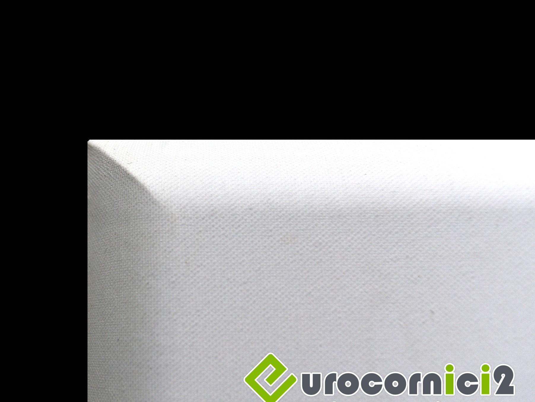 Tele con profili curvi per dipingere in Puro lino  - profilo telaio 4 cm