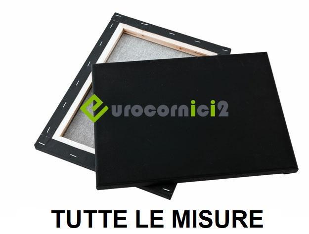 Tele Nere per dipingere in puro cotone - telaio telato nero profilo 2 cm - Gallery Linea 20