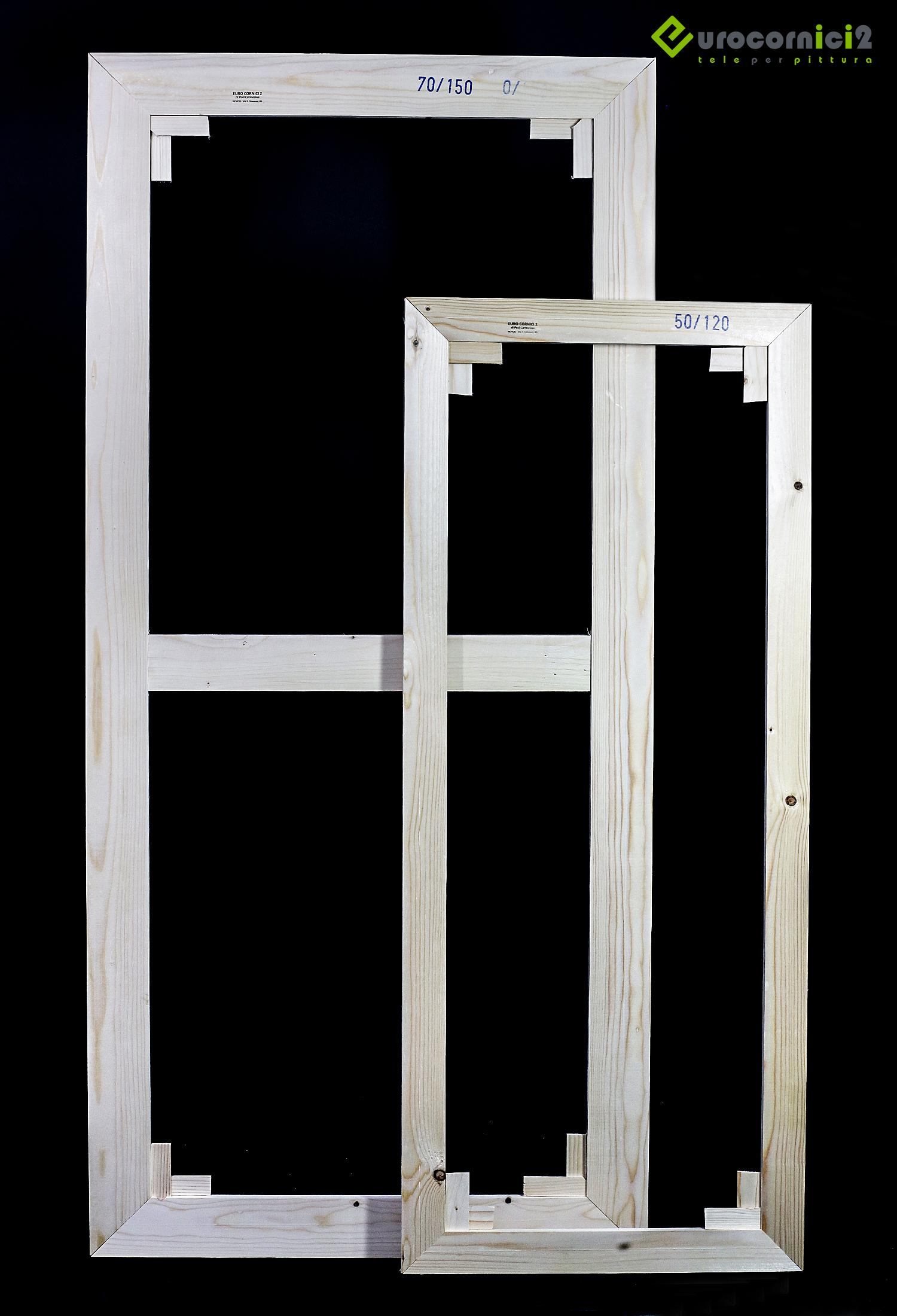 Telai 50x70 per tele - standard - profilo 2 cm - in legno di abete stagionato