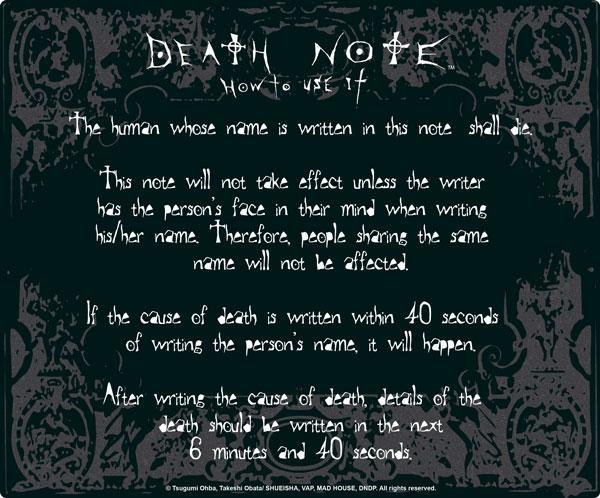 Death Note Rules mouse pad tappetino