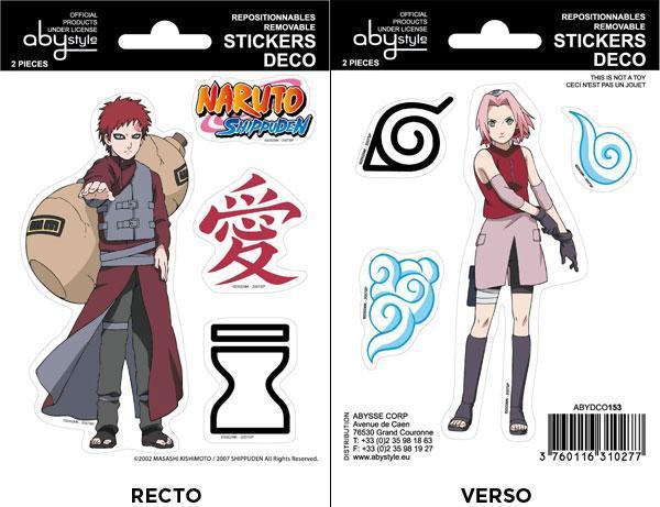 Naruto Shippuden Gaara Sakura mini stickers 16x11 cm