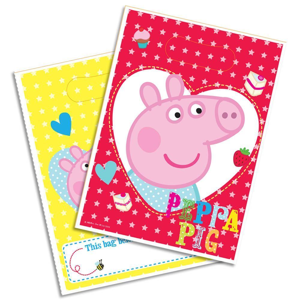 Peppa Pig 8 saccchetti regalo rosso giallo festa party