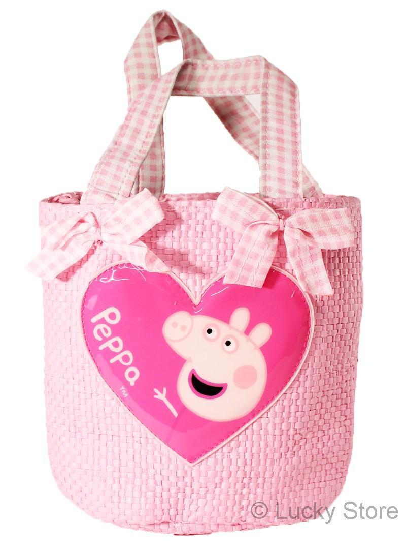 Peppa Pig borsa a tracolla bambina in rafia rosa foderata 15 cm originale