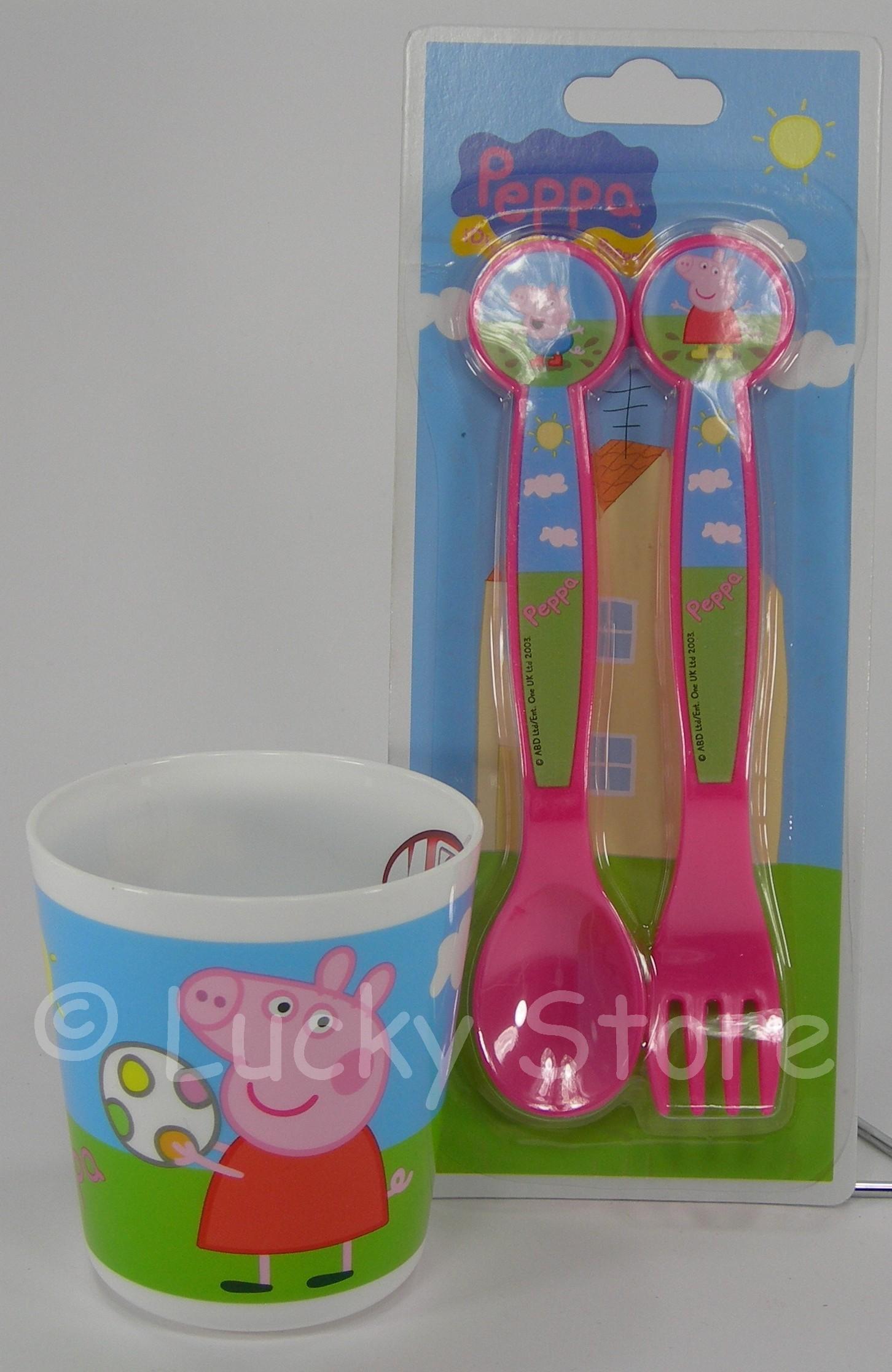Peppa Pig set posate melamina  bicchiere per microonde
