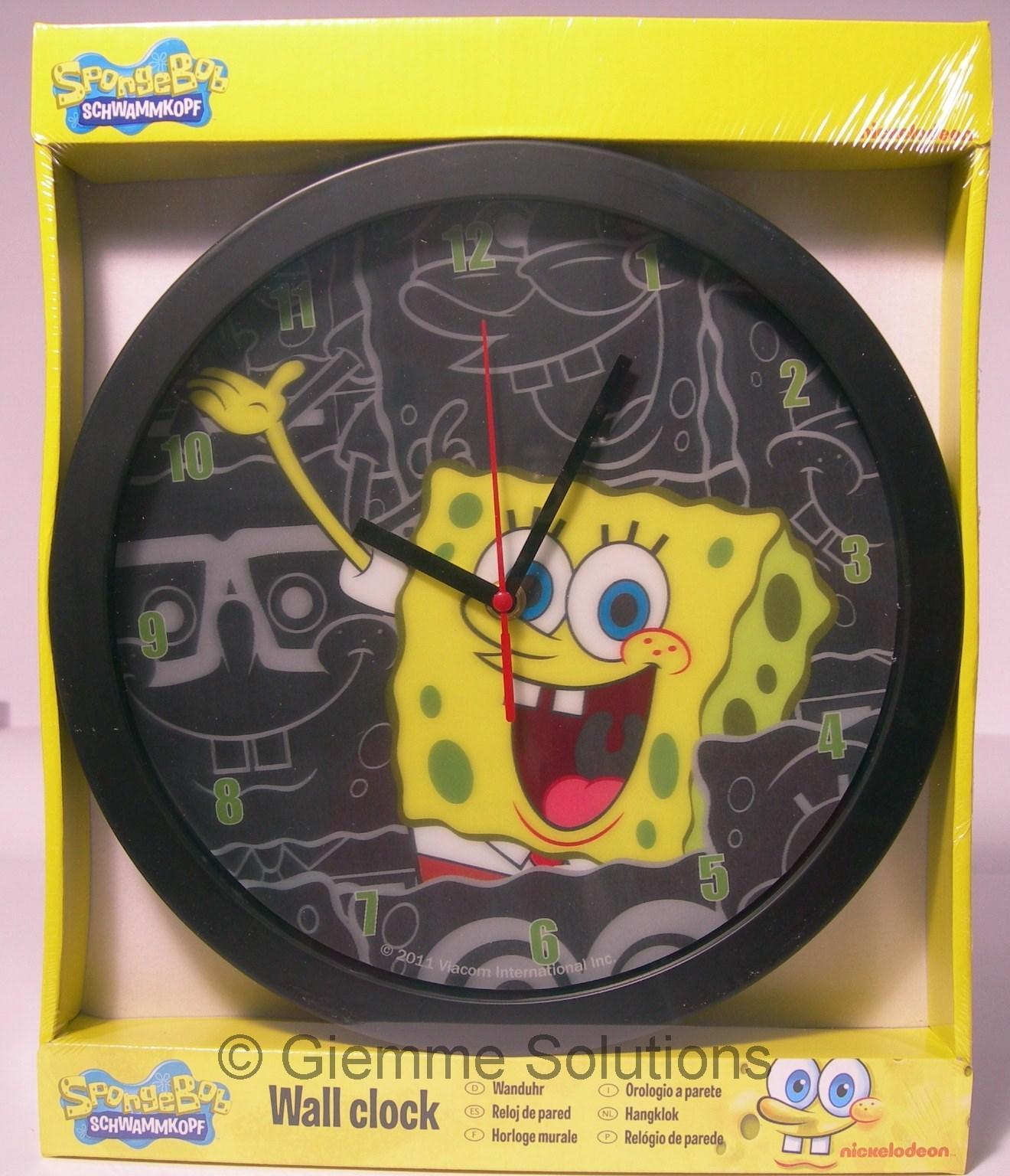 Spongebob orologio da muro nero