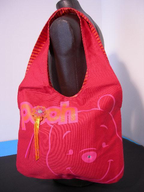 Winnie The Pooh borsa a spalla in tessuto reversibile con strass