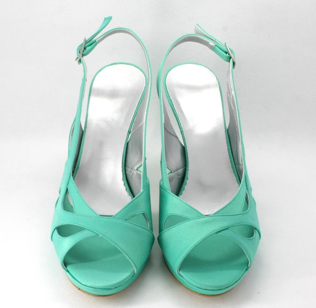 Scarpe Da Sposa Color Tiffany.Sandalo Cerimonia Donna In Tessuto Di Raso Color Tiffany Con Cinghietta Regolabile Alla Caviglia