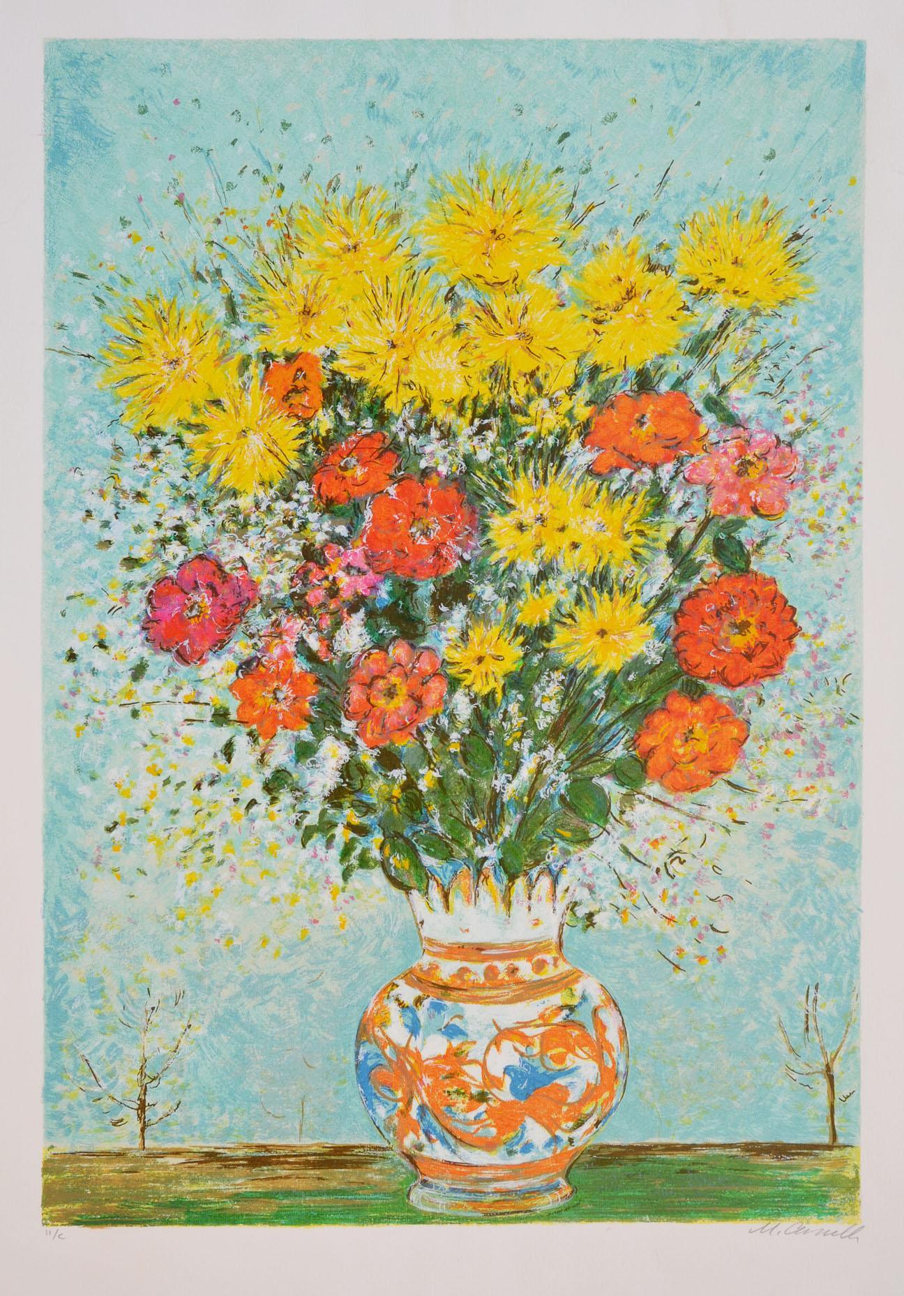 Cascella Michele, Vaso di fiori, Serigrafia polimaterica, Formato cm 65x87