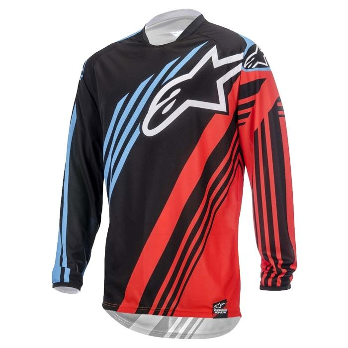 MAGLIA MOTO CROSS ALPINESTARS RACER SUPERMATIC BLACK RED BLUE