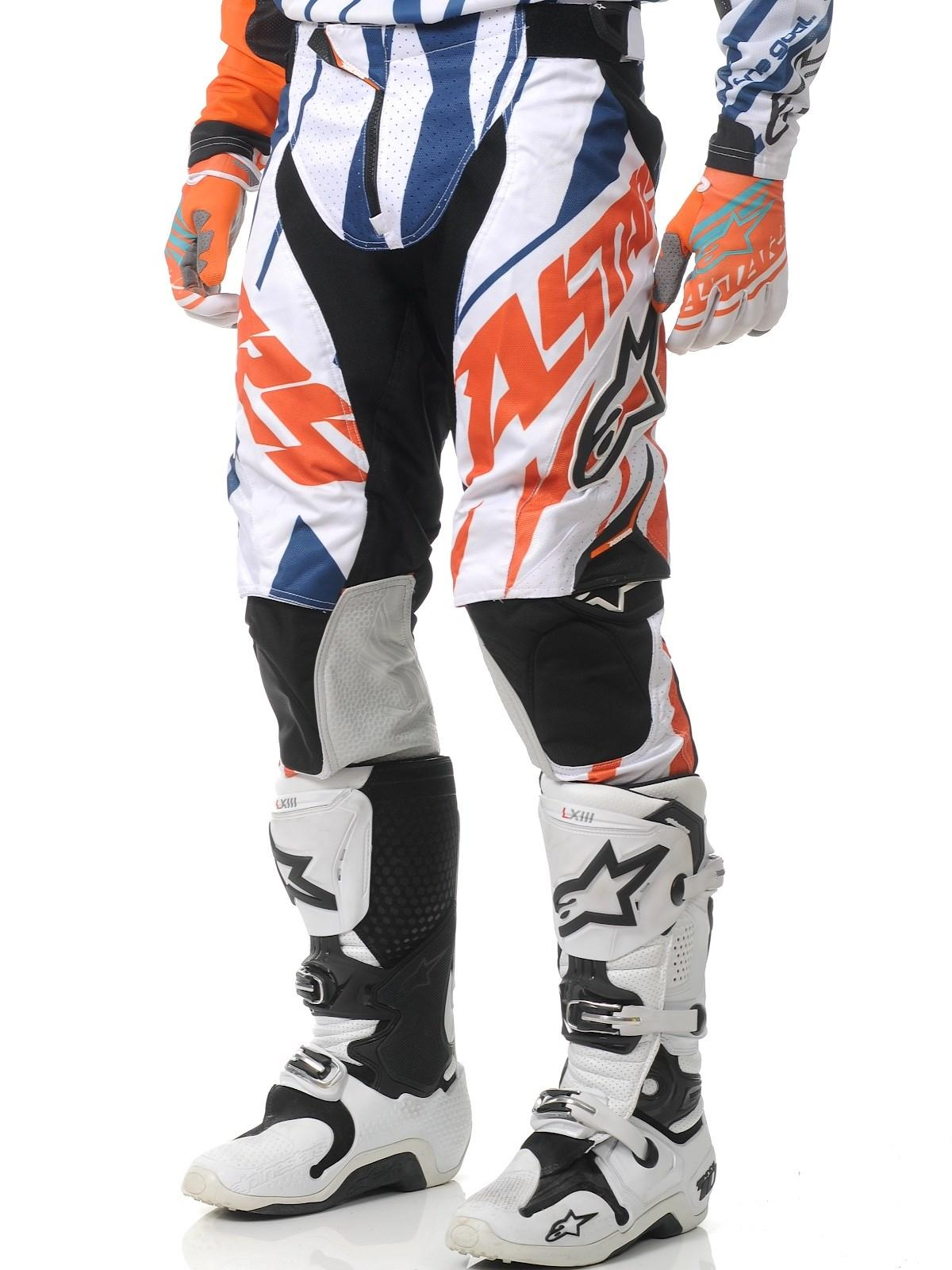 PANTALONI MOTO CROSS ALPINESTARS TECHSTAR ORANGE WHITE BLU