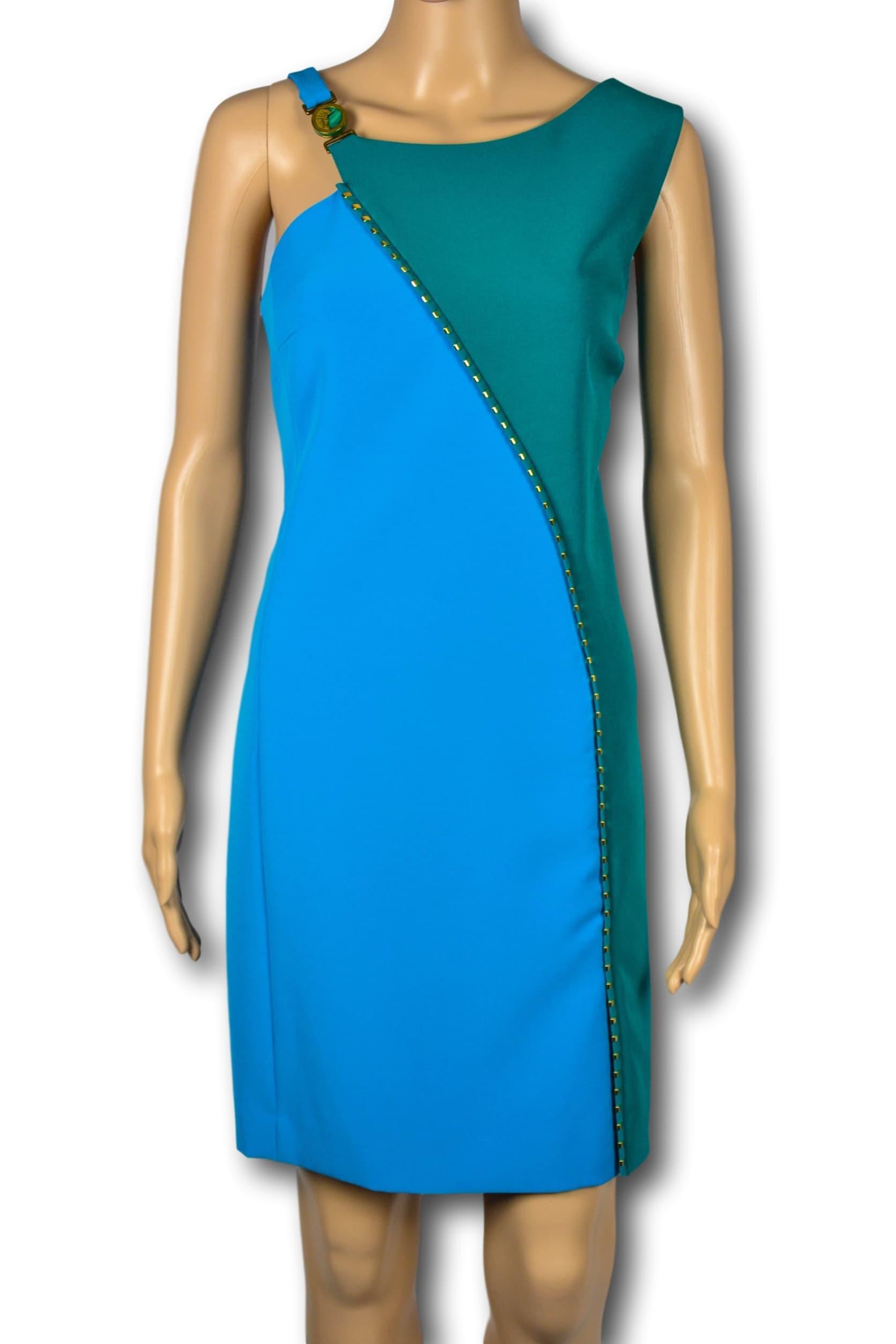 hot sales a8200 59f1a Dettagli su VERSACE COLLECTION Abito Vestito Donna Woman Dress Blu Verde  Smeraldo TG. 46