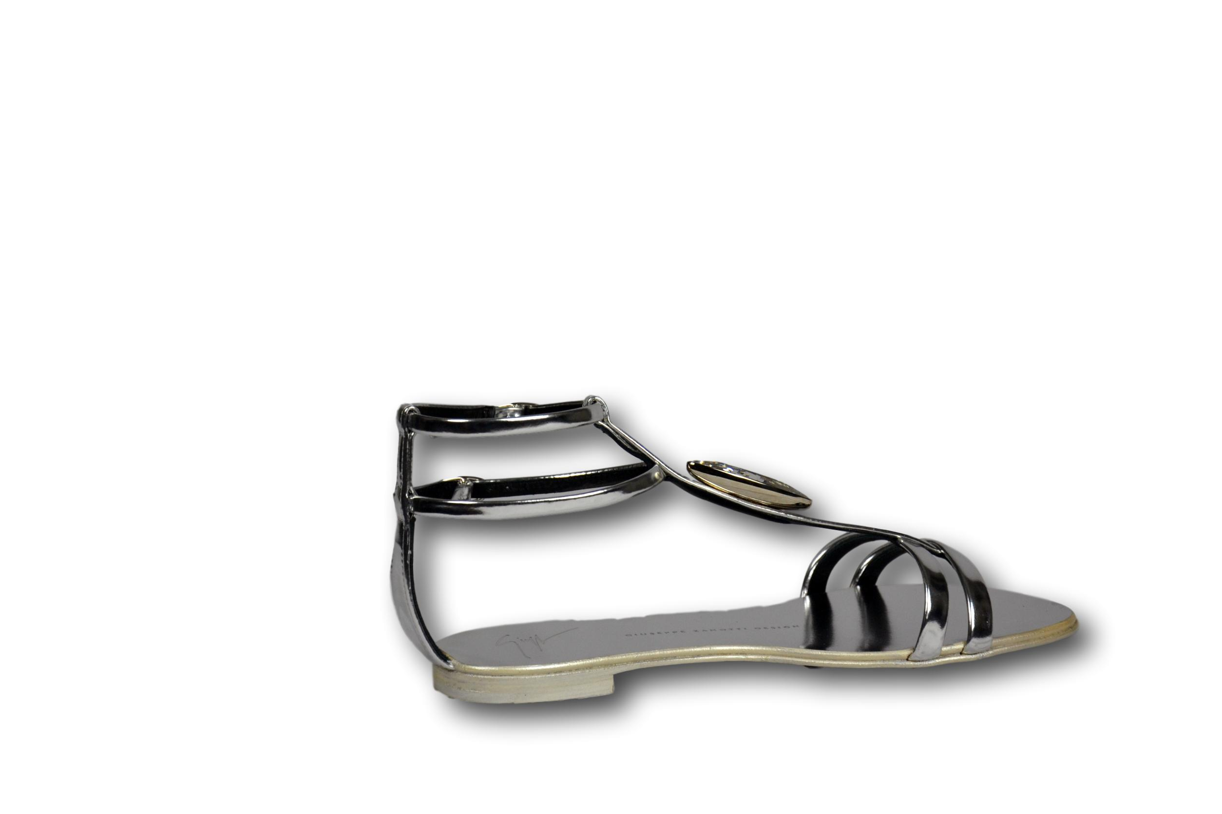 GIUSEPPE ZANOTTI Sandalo Donna Shoes Shooting Cuoio Silver Pietra TG. 37    4 UK 75a3bcc445f