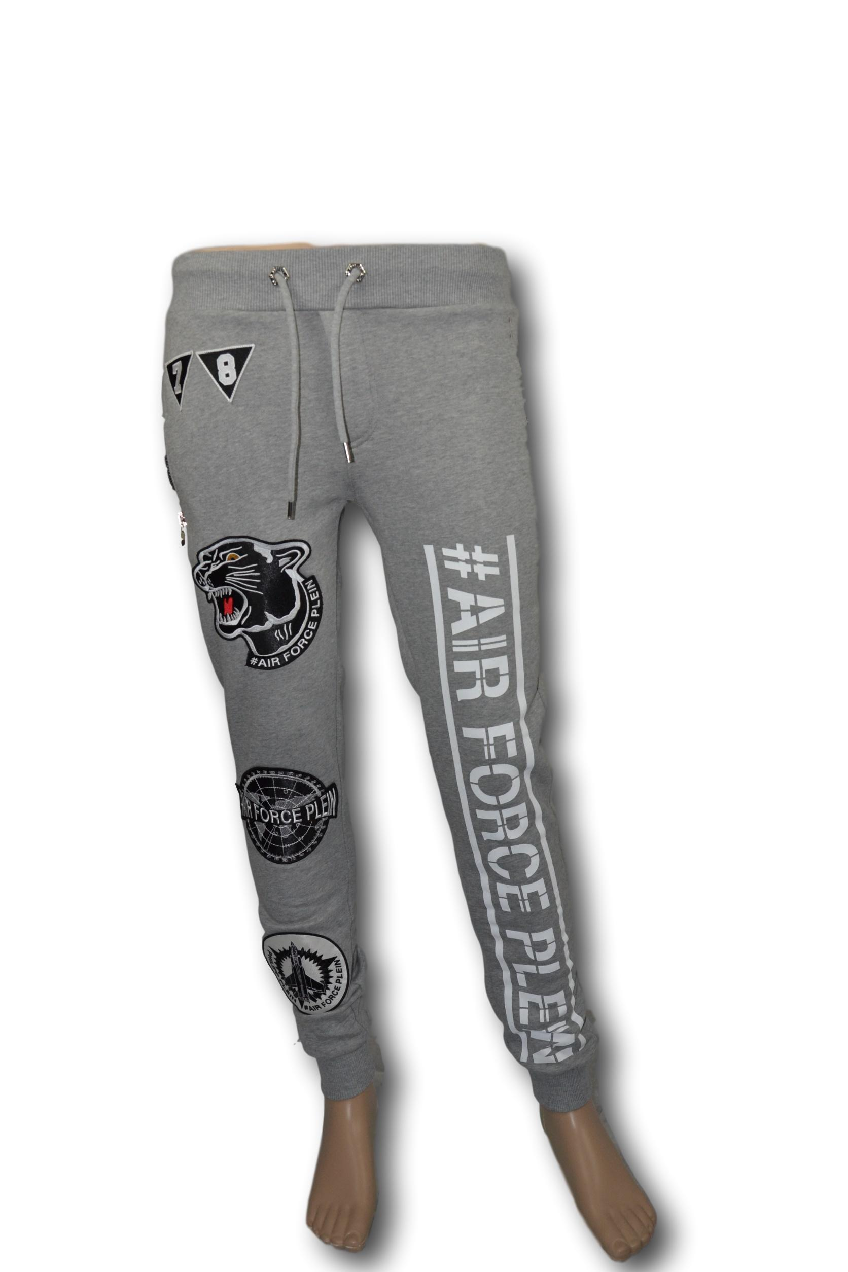 PHILIPP PLEIN Pantalone Tuta Uomo Man Jogging  Air Force Plein Grigio TG. S 7fd538b16d1