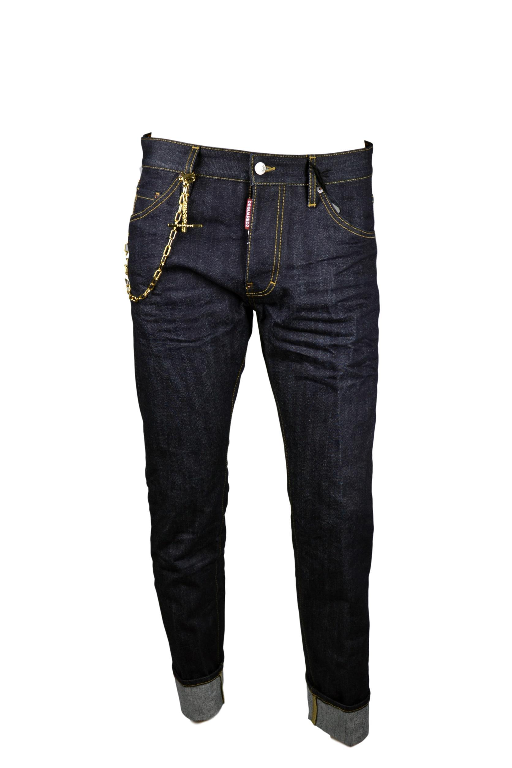 a548c9374e4e DSQUARED D2 Jeans Uomo Man Catena Oro Cool Guy Denim Scuro TG. 48 50 (34 36)