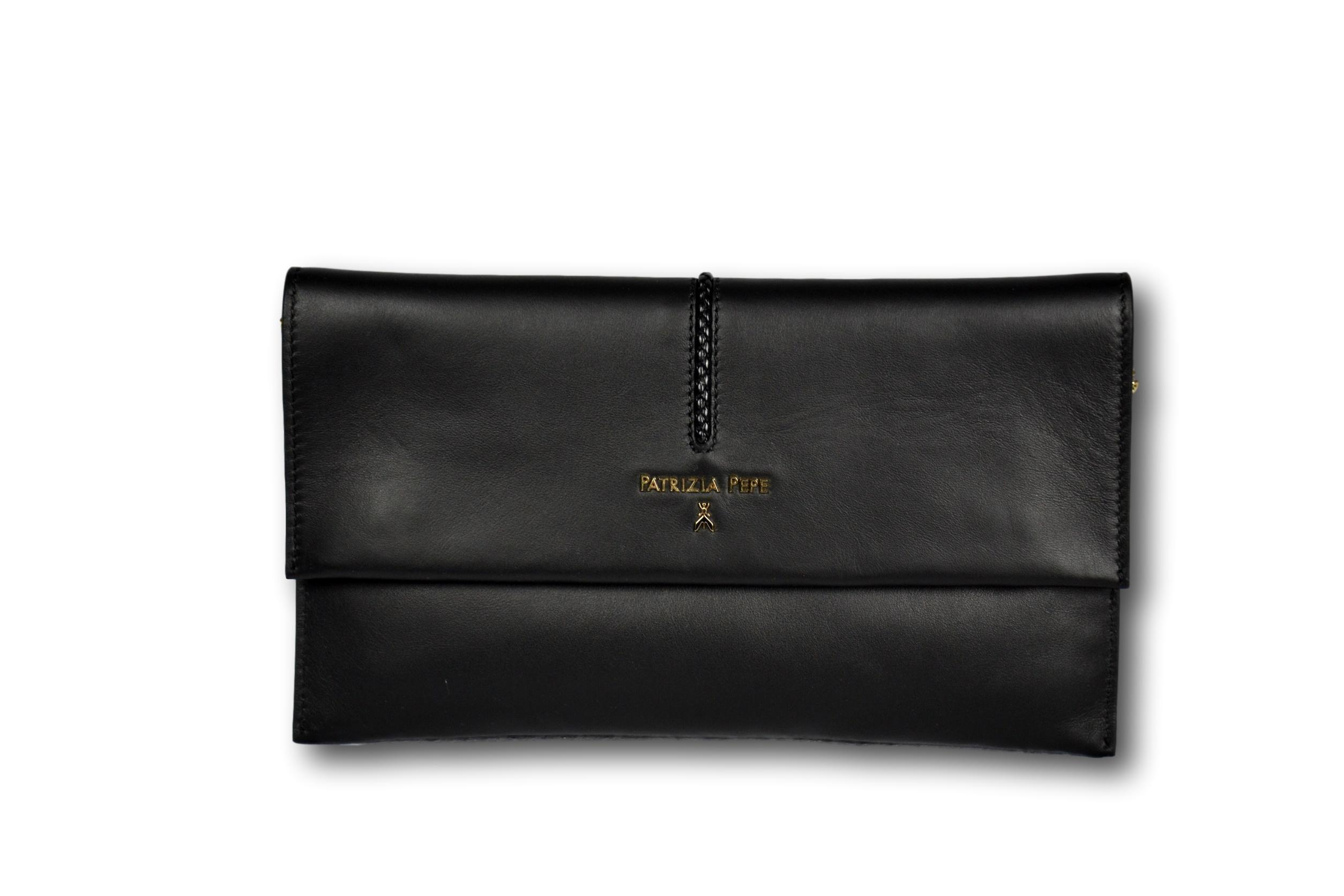 35bc263b2ae01 PATRIZIA PEPE Borsa Donna Nera Liscia Woman Bag Tracolla Catena Oro ...