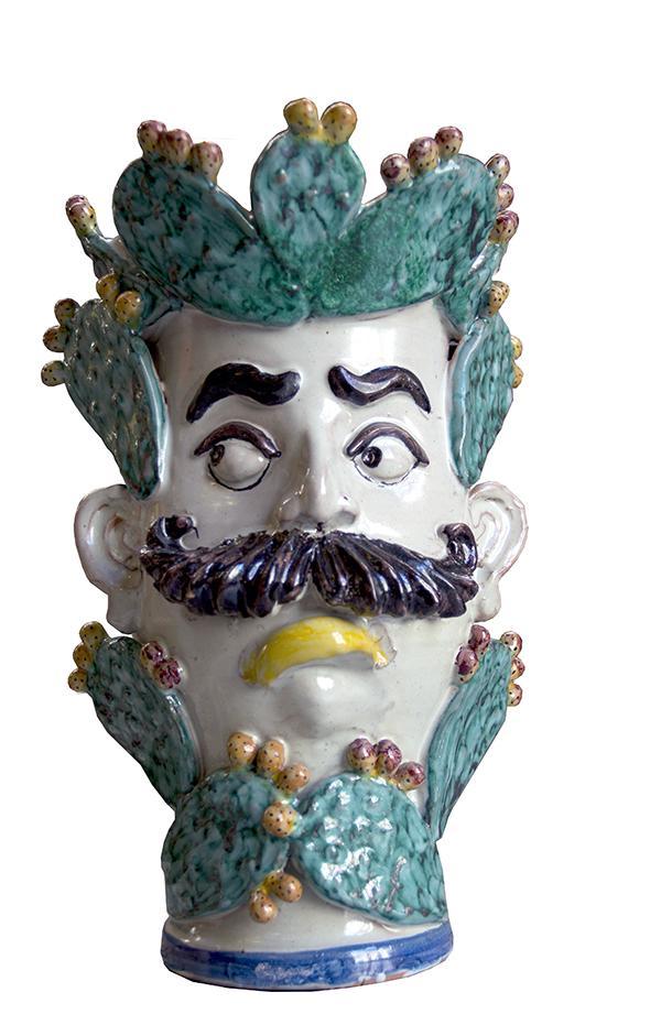 Vaso uomo con i baffi e Fico d'india