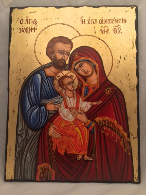 Icona greca dipinta Sacra Famiglia cm. 30x40