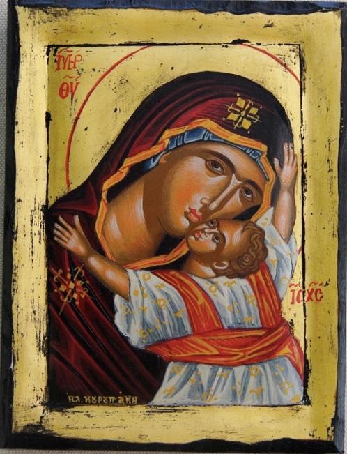 Icona greca dipinta Madonna con Bambino