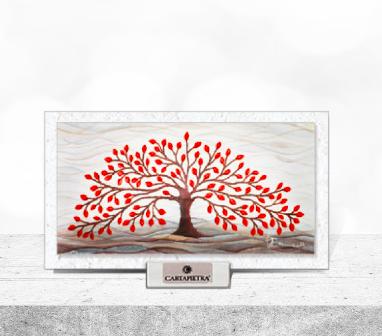 Cartapietra Quadretto Albero della Vita Rosso 16 x 9 cm