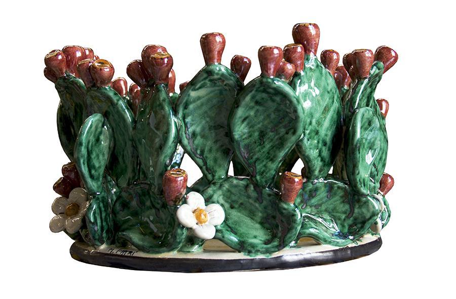 Ceramiche di Caltagirone Centrotavola Vaso con Fico d'india