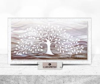 Cartapietra Quadretto Albero della Vita Bianco 16 x 9 cm