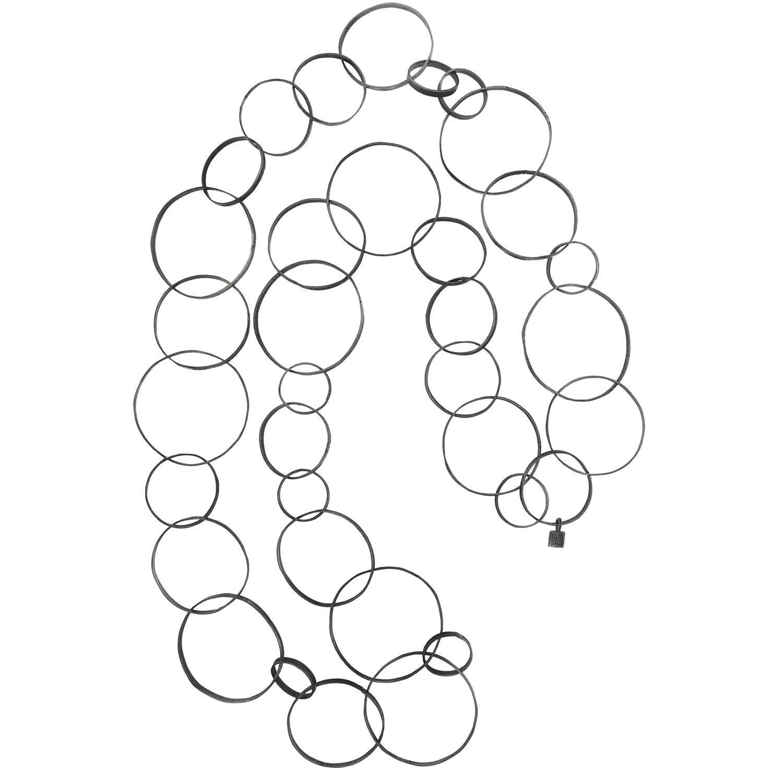 Catena lunga Circles in argento 925