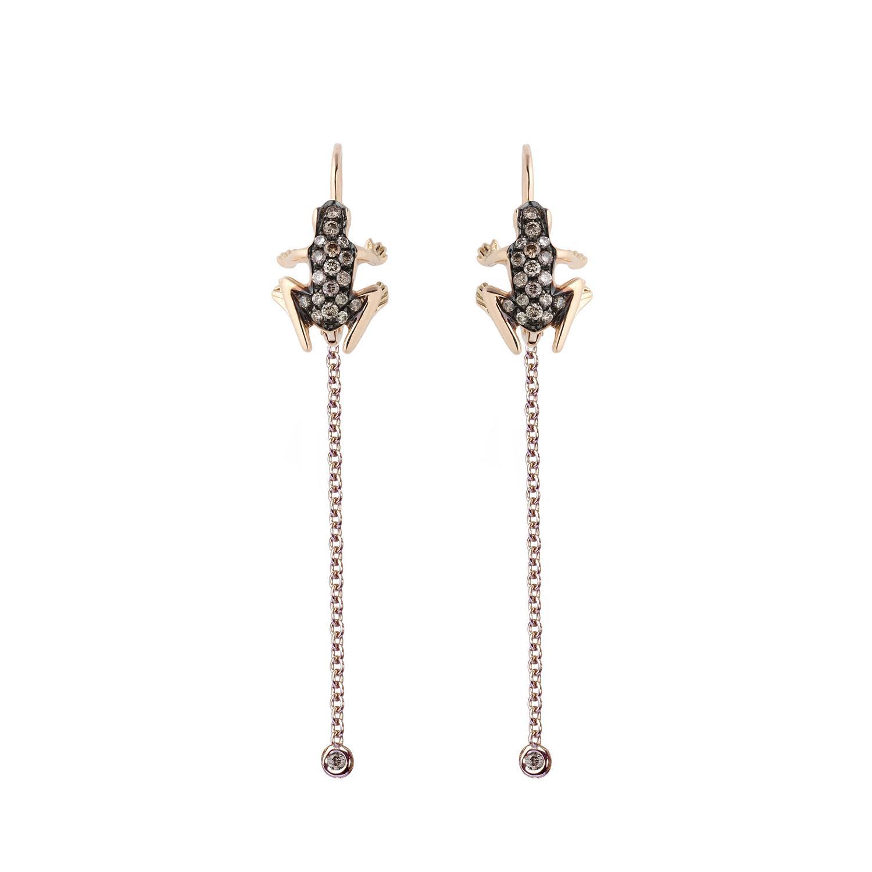 Orecchini pendenti in oro e diamanti brown