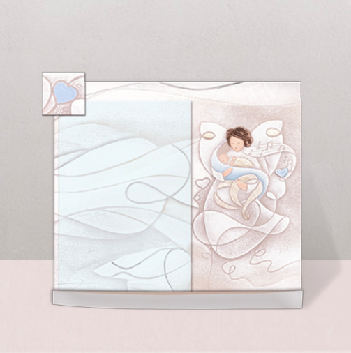 Cartapietra Portafoto Battesimo Melodia d'Amore Azzurro 23 x 19 cm