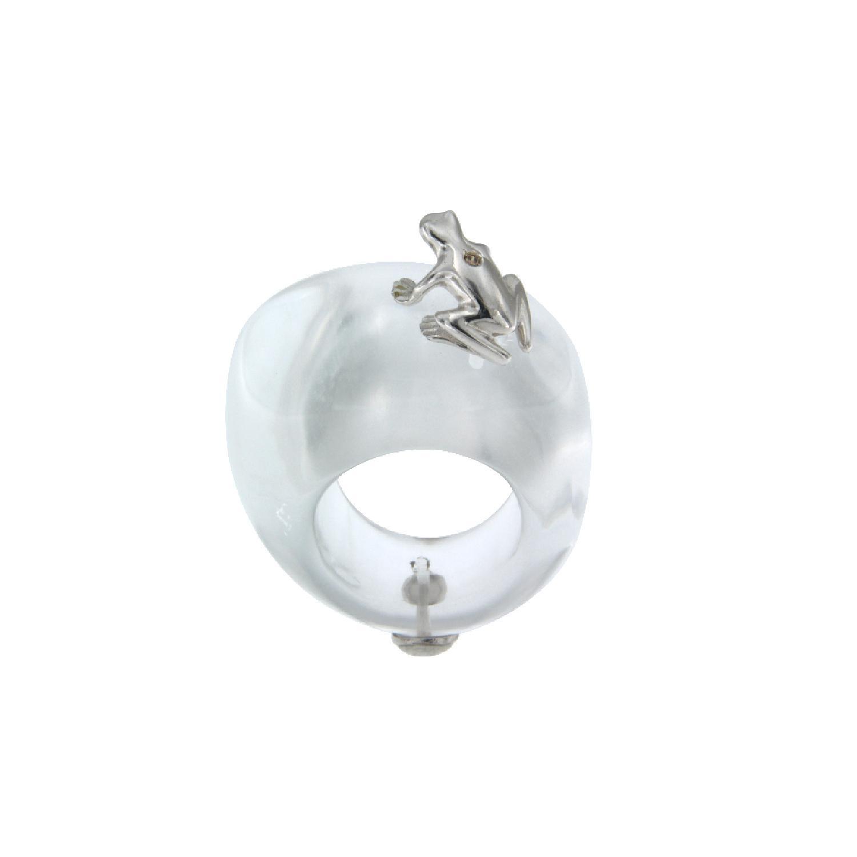 Anello in pietra, argento 925 e diamante