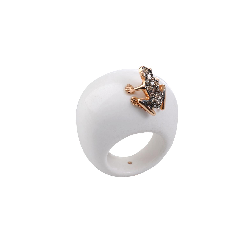 Anello in pietra, oro 18k e diamanti