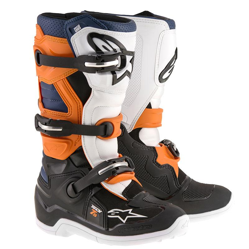STIVALI MOTO CROSS ALPINESTARS TECH 7 ORANGE BLACK ORANGE WHITE BLU