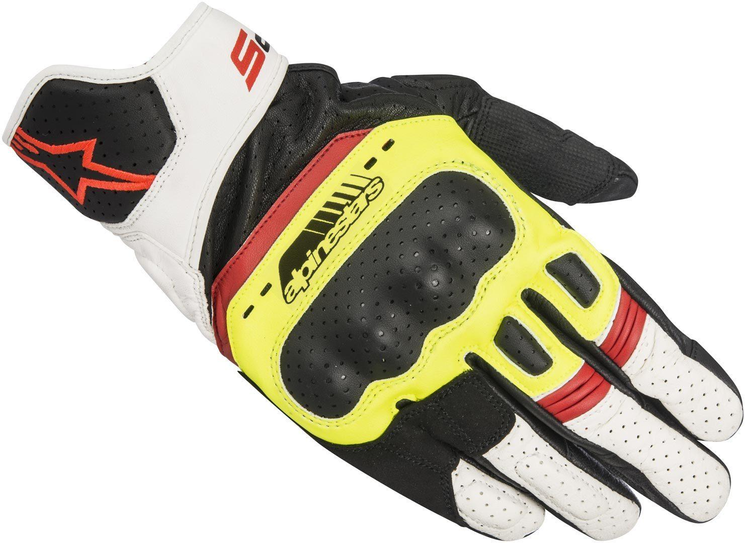 GUANTI MOTO IN PELLE ALPINESTARS SP-5 BLACK YELLOW FLUO WHITE RED FLUO COD 3558517