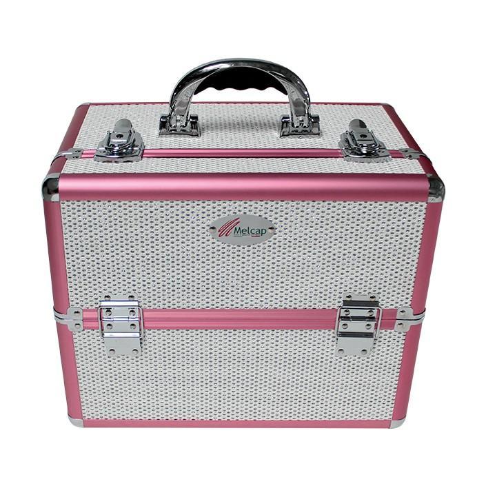 Melcap - Beauty Case rigido con strass per make up e ricostruzione unghie - Bianco Alluminio Rosa