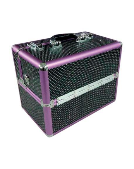 Melcap - Beauty Case rigido con strass per make up e ricostruzione unghie - Nero Alluminio Viola