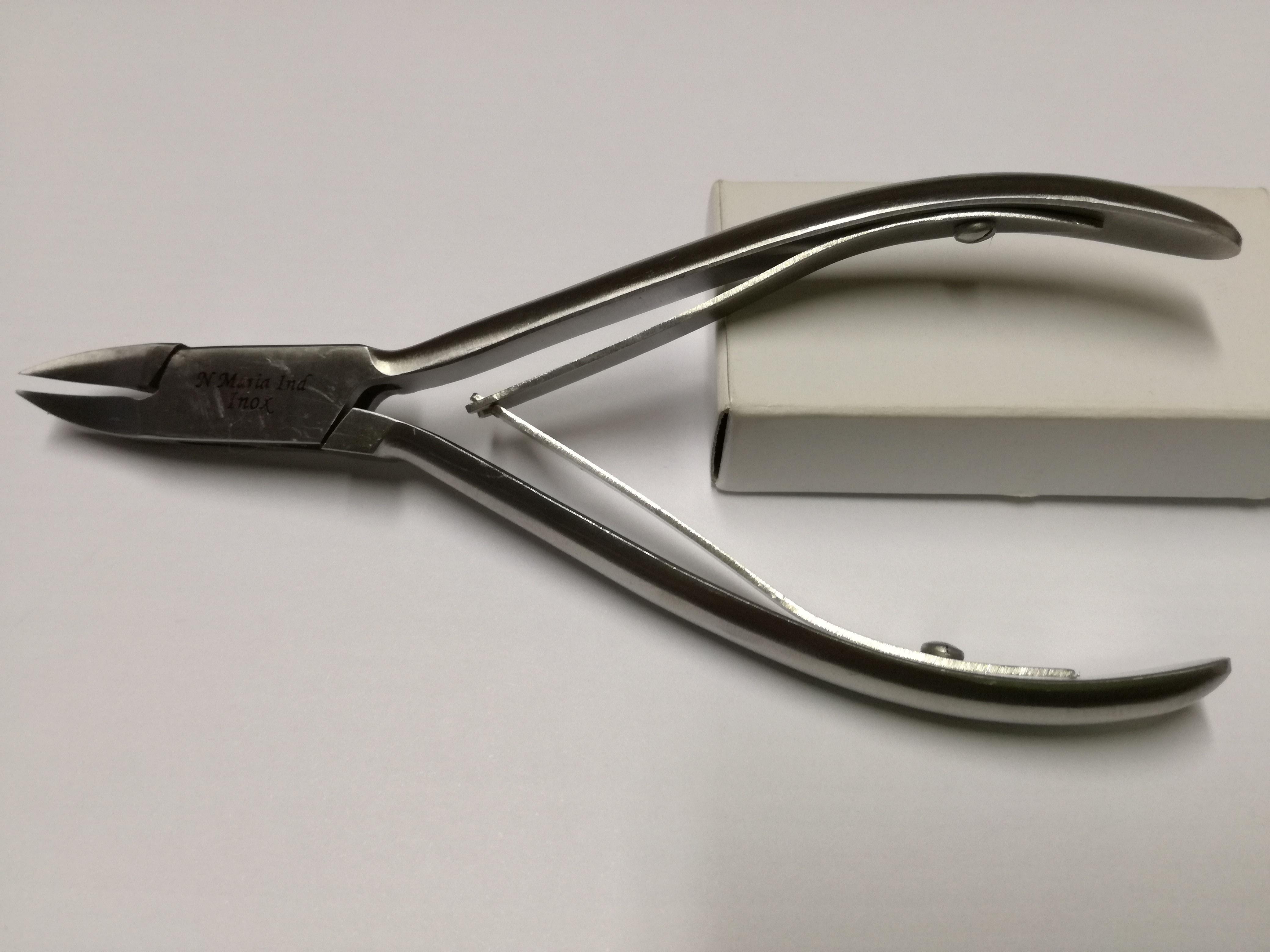 Tronchese professionale a punta curva in Acciaio INOX con doppia molla - cm12