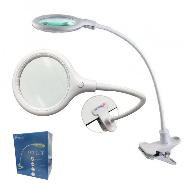 Melcap LAMPADA LENTE LED CLIP DA TAVOLO ingrandimento 5 diottrie con 30 LED portatile