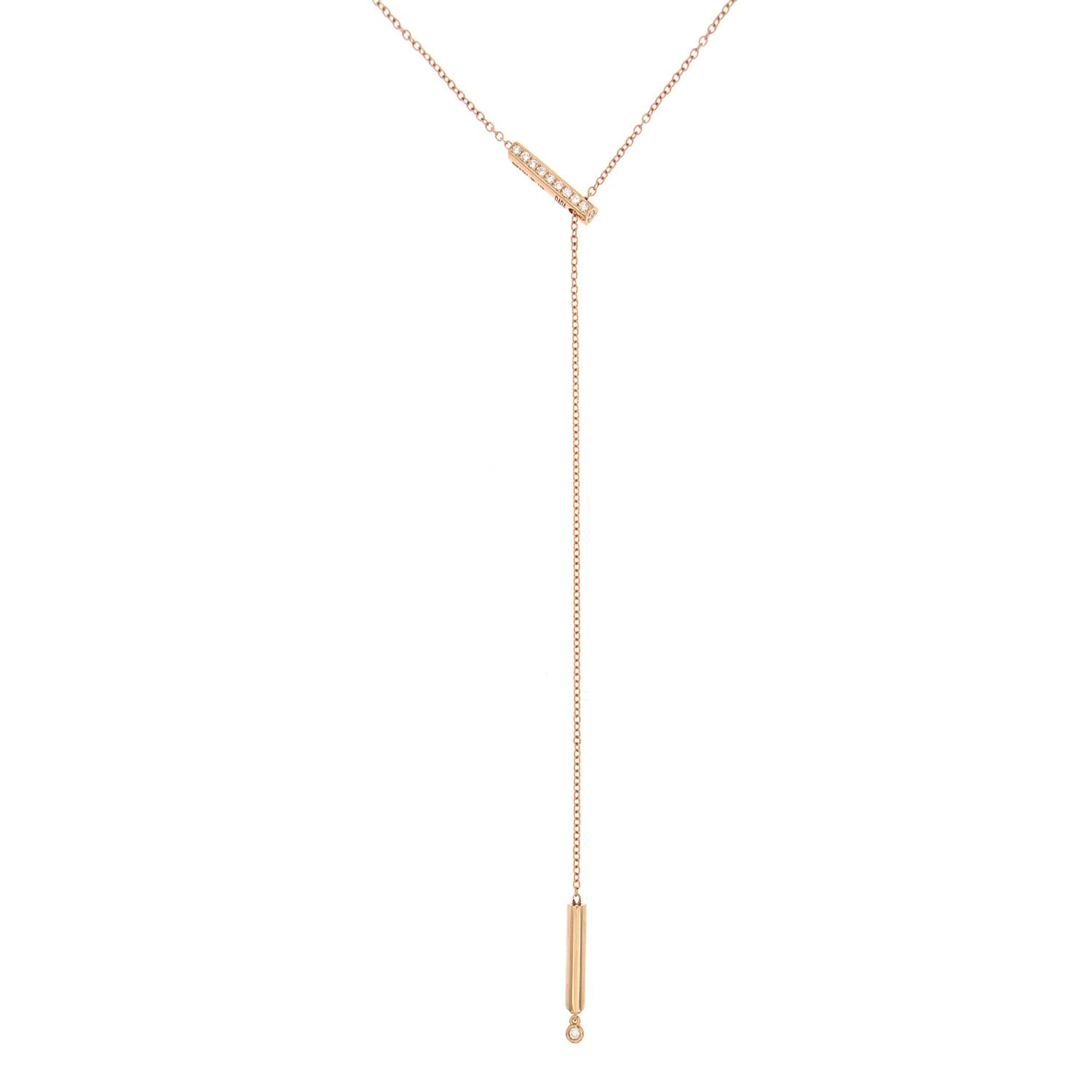 Y-shape necklace in 18k gold and diamonds