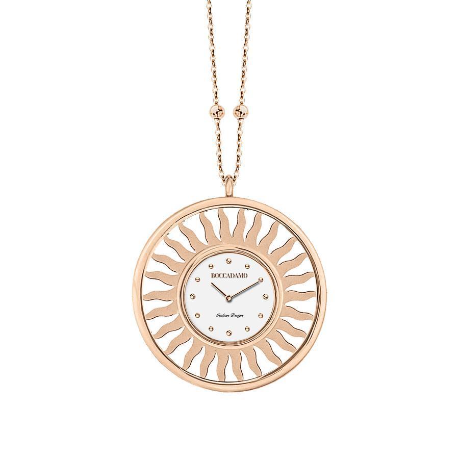 Collana-orologio in bronzo placcato oro rosa
