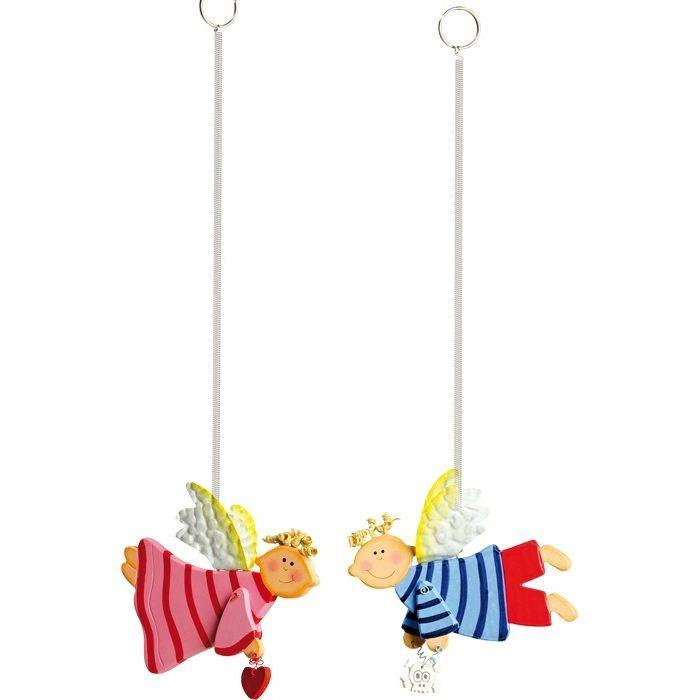 2 Angeli custodi in legno arredo decorazioni cameretta in legno per bambini