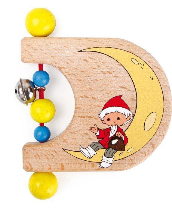 Gioco per neonato in legno Tattile Luna con campanellino Omino del sonno