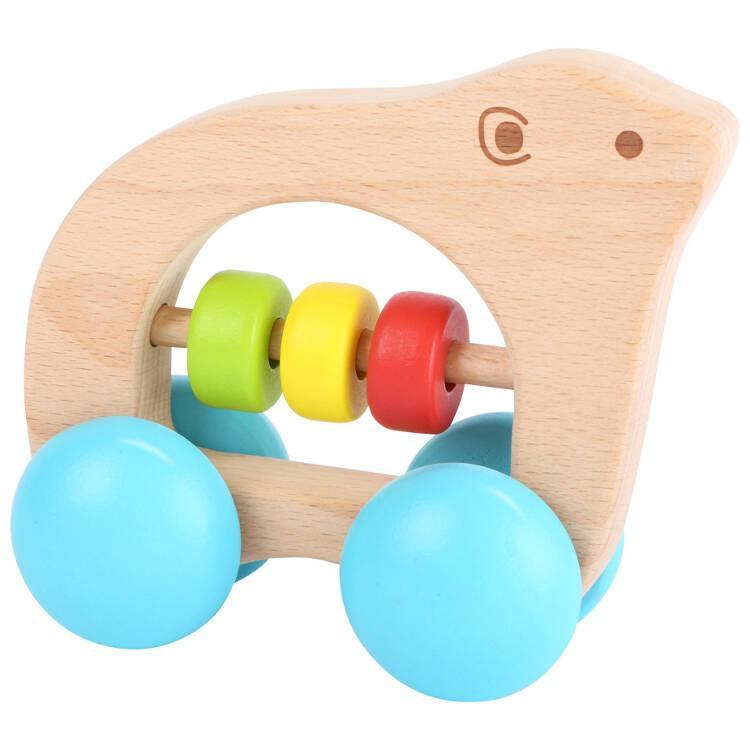 Tattile in legno Orso su rotelle Gioco per neonato