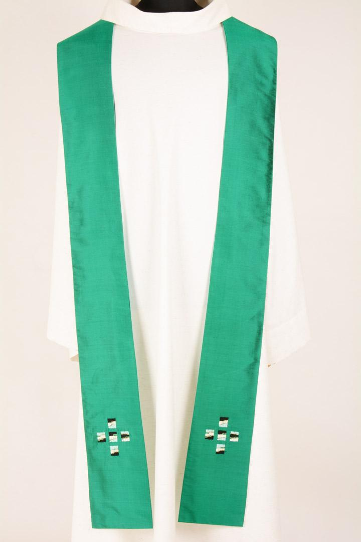 Stola S44 M1 Verde Croci Vaticano - Pura Seta