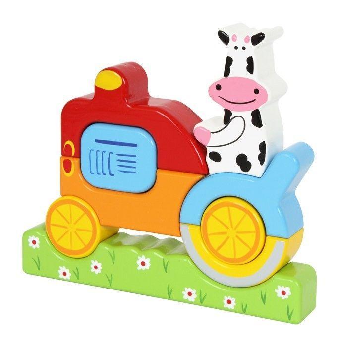 Cubi da montare Mucca con trattore in legno Gioco bambino/bambina