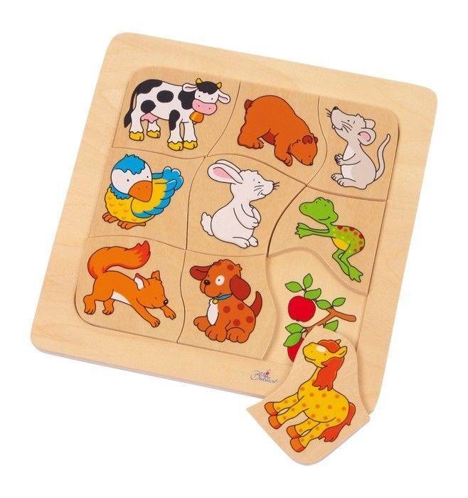 Puzzle animali a risposta Chi mangia il cibo? in legno Gioco bambini