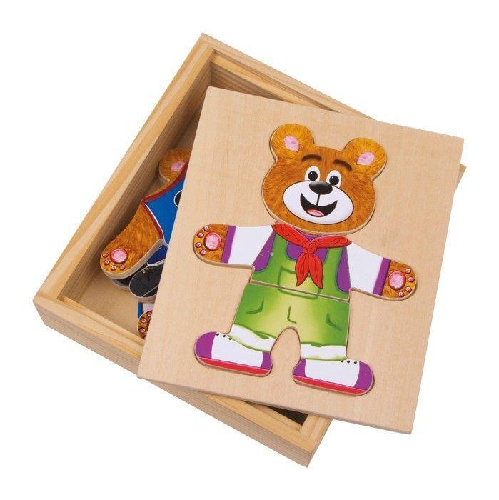 Puzzle orso da vestire in legno Gioco didattico