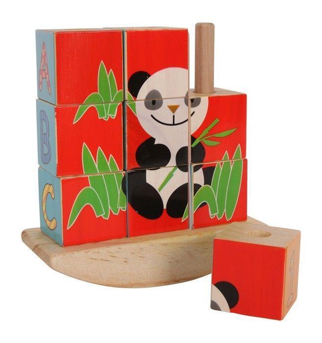 puzzle a dadi in legno con 2 sfondi panda e elefante gioco bambino/bambina