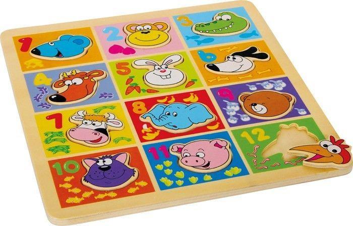puzzle ad incastro animali e numeri in legno gioco motricità bambino/bambina