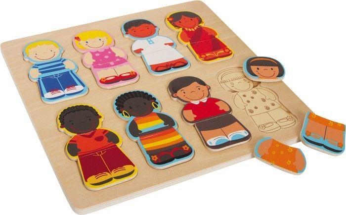 Puzzle in legno Bimbi del mondo 8 pezzi Gioco per bambino/bambina