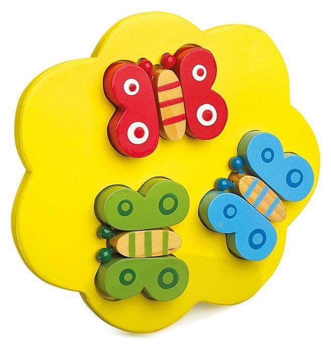 3 Puzzle 3d cornice legno farfalle,coccinelle,pesci Gioco x bambini