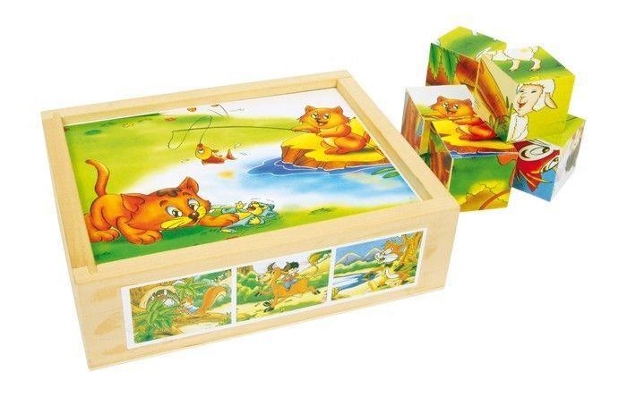 Puzzle 12 dadi divertimento degli animali in legno Gioco x bambini